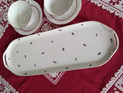 Antique Herend tray with a rare black and red tulip pattern, with an excellent mark from 1940!