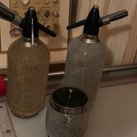 Vintage Merkuria Kovocas Syphon üvegpalack dróthálós Seltzer