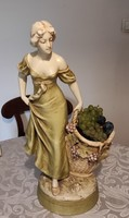 Offering a huge extraordinary majolica, lady with a basket of grapes, 56.5 cm! Royal dux?