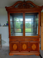Antique dining set (xixx table + 7 chairs, display cabinet)