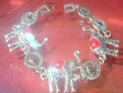 Coral mineral stone ornate elephant with Tibetan silver bracelet - safety clasp
