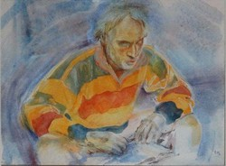 Tamás noémi - reading man 23.5 x 32 cm tempera, paper