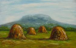 Csobánc with haystacks - landscape (23.3x15.7 cm)