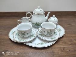 Új Hollóházi porcelán teáskészlet Pannónia collection Erika mintás, dobozában