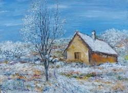 Snowy landscape - landscape (22x16 cm)