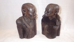 Antique iron wood carving black woman and man sculpture couple