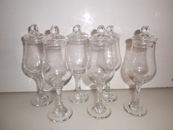 Glass - 6 pieces - 19 x 6 cm - brandy set - thick glass - Austrian.