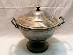 Soup bowl with silver-plated restaurant base and lids