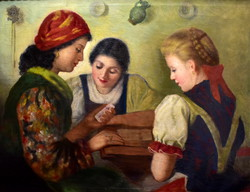 Girls at the fortune teller! Xx. Sz first half, oil on canvas!