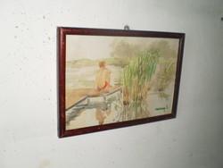 Szignózott akvarell