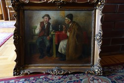 Horváth g. Andor life picture 2 peasants talking on 1876 oil canvas