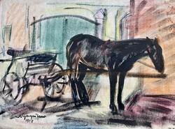 János Nyergesi 1958 equestrian scene
