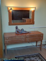 Retro dressing toilet table on bedside table with mirror