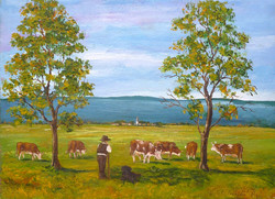Cows grazing in the Balaton Uplands - landscape (19x13.7 cm)