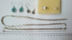 Silver Jewelry Pack Braided Eye Ring Necklace Bracelet Earrings 7 Pcs