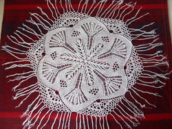 Hand knitted lace tablecloth