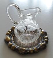 Old crystal pouring metal tray vintage mini jug Art Nouveau lemon opener