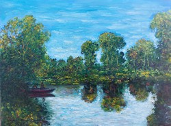 Lake Balaton with a boat - landscape (27.5x20.5 cm)