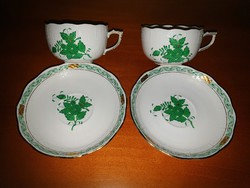 Herend green apponyi tea cup with saucer 2pcs