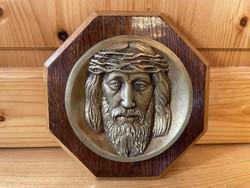Jézus Krisztus réz bronz plakett dombormű portré
