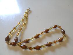 52 cm amber retro necklace made of special glass beads.