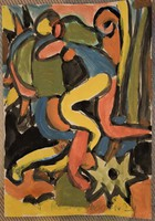 Miklós Németh watercolor, 20x30cm, signed
