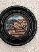 Ritka szép üvegre kézzel festett Keleti kép