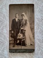 Antique wedding photo of Szekler and his partner in Budapest old studio photo
