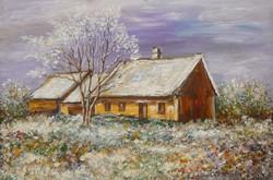 Monoszló house in winter - landscape (20.5x13.7 cm)