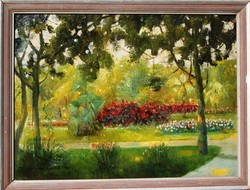 Bálint Árpád (1870-?): Virágos parkban, 1921 - olaj-vászon festmény, keretezve