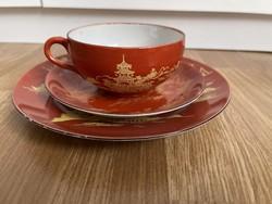 Nagyon szép vékony porcelán 3 db reggeliző szett.