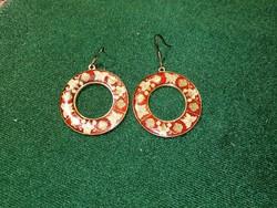 Enamel earrings with butterfly pattern