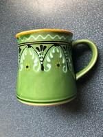 Barakonyi green glazed folk ceramic jar, mug