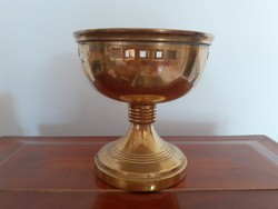 Old copper art deco nature metal cup with openwork candlestick with base