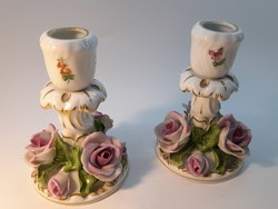 Pair of Herend rose candle holders