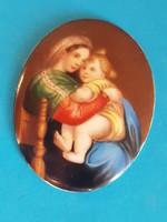 Festett porcelán kép szentkép, medál
