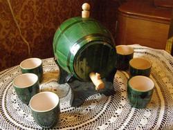 Old glazed ceramic barrel with 6 cups