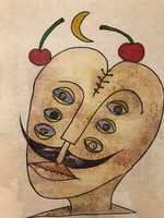 """Ef zámbó istván (1950-) ebp. """"Dali with cherries"""" rare ebp.Gallery frame size: 40 x52.5 Cm."""