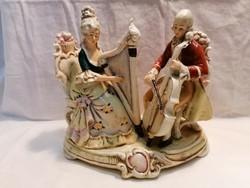 Sitzendorf porcelán szobor hárfázó hölgy férfi vonós hangszerrel