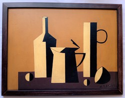 Abstract still life - with illegible sign