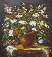Flowers in a vase - still life (24.5x26.9 cm)