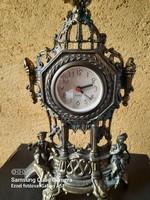 Metal fireplace clock