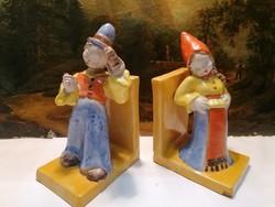 Pair of art deco figurine ceramic bookends