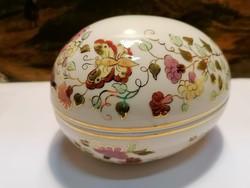 Zsolnay porcelain, large butterfly egg, bonbonier signed by artist
