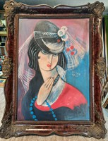 Antique painting in blondel frame