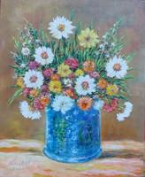 Flowers in a blue vase - flower still life (20.5x25.6 cm)