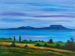 Tranquil Lake Balaton Lookout Tower - Landscape (48x36.5 cm)