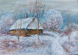 Snow is already falling on the house, meadow - landscape (20.5x15 cm)