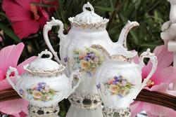 Antik teás ,kávés kanna ,cukortartó ,tejszínes kiskancsó
