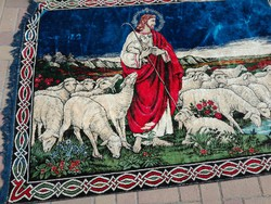 Jesus a.Good shepherd, 180x125 cm mokett tapestry, with a really rare life picture